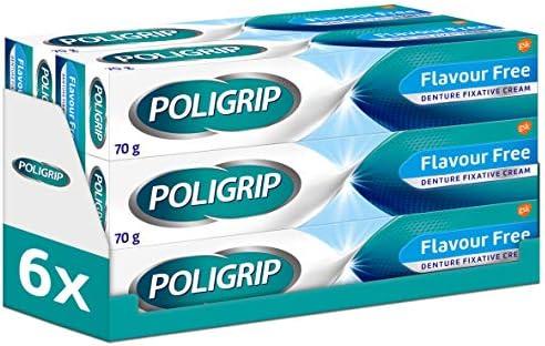 Poligrip Denture Adhesive, Fixative Cream to Secure Dentures, False Teeth & Partials, Flavour Free, 70 g (Pack of 6)