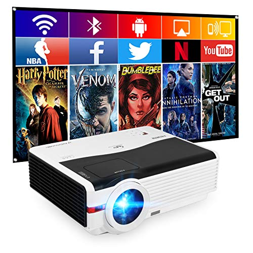 """WiFi Bluetooth Projector HD 1080P Home Theater, 6200 Lumen LED Smart Movie Projectors Outdoor 200"""" Display LCD TFT HiFi Speakers Wireless Projectors for Cell Phones TV Box Laptop"""