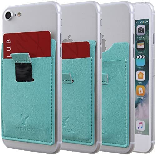 Monca Slide Up Wallet for Back of Phone Stick On Credit Card Holder for Cell Phone Pocket Leather (Mint)