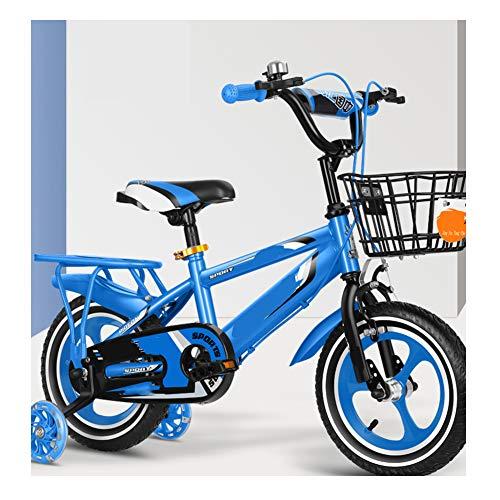 TOOSD Bicicleta Infantil De 12'14' 16'18' para Niñas Y Niños De 2 A 8 Años con Rueda Auxiliar Flash Y Freno Doble, Bicicleta De Entrenamiento con Marco De Acero Al Carbono,A,12