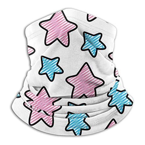senob Doodle Nice Pink Blue Star Art Shape Headwear Neck Gaiter Warmer Winter Ski Tube Bufanda Máscara Fleece Face Cover Windproof Customized