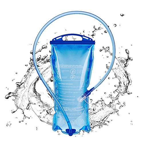HLJS Bolsa de hidratación con válvula de mordedor, bolsa de hidratación, sin BPA, reserva de agua de 1,5/2/3 l, mochila sistema de hidratación con manguera, para senderismo, ciclismo, camping (1,5 L)