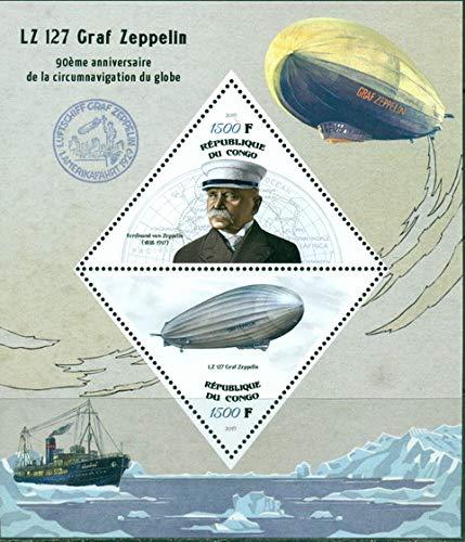 Congo 2019 90th anniversary circumnavigation LZ 127 Graf Zeppelin MS 2 values Ferdinand von postmark MNH JandRStamps
