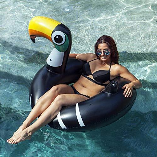 Flotador Inflable De PVC Tucán Piscina Ring-Adult Swim Fila Piscina Inflable del Flotador del Asiento del Flotador Natación Niños Verano Agua Juguetes-120cm Black-150CM