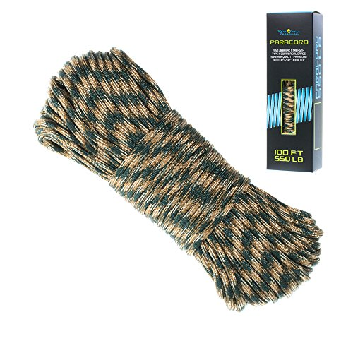 550 Paracord Bracelet Parachute Cord - 7 Strand Type III Paracord Rope (Woodland Camo)