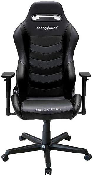 DXRacer OH DM166 N 黑色漂流系列游戏椅人体工学高靠背办公室电脑椅电竞椅旋转倾斜和斜倚带头枕和腰垫保修