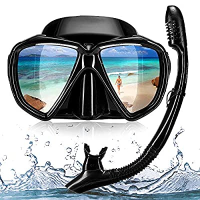 Snowledge Snorkel Mask, Scuba Diving Mask with Tempered Glasses, Impact Resistant Snorkel Set, Leak-Proof Dive Mask, Carry Bag Included