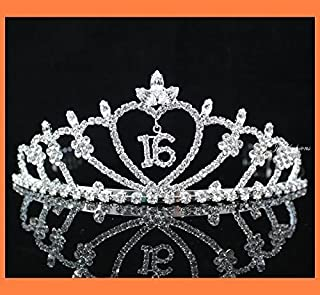 Janfashions Sweet Sixteen 16 Clear Austrian Rhinestone Tiara Crown with Hair Combs Party Fashion Jewelry T538 Silver