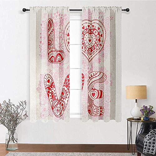 GugeABC Long Curtains 96 inch Length, Love Energy Efficient Drapes 72' x 96' - Romantic Floral Background with Letters of The Word Love with Ornamental Design, Coral Pink Cream