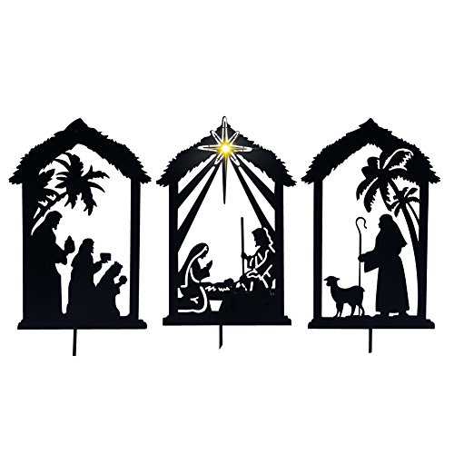 Lighted Shadow Nativity Shadow Stakes, Black