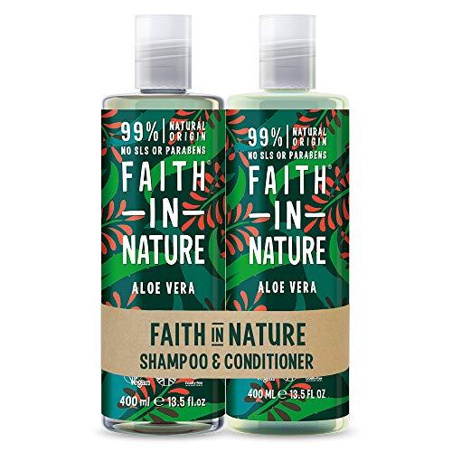 Faith in Nature Natürliches Aloe Vera Shampoo & Conditioner Set, Regenerierend, Vegan & Ohne Tierversuche, Frei von Parabenen und SLS, für Normales bis Trockenes Haar, 2 x 400ml