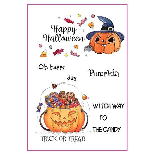 WuLi77 Happy Halloween DIY Silikon klare Stempel für Karten Basteln Schablonen DIY Prägung Foto Album Basteln Kunst Handarbeit Geschenk Scrapbooking