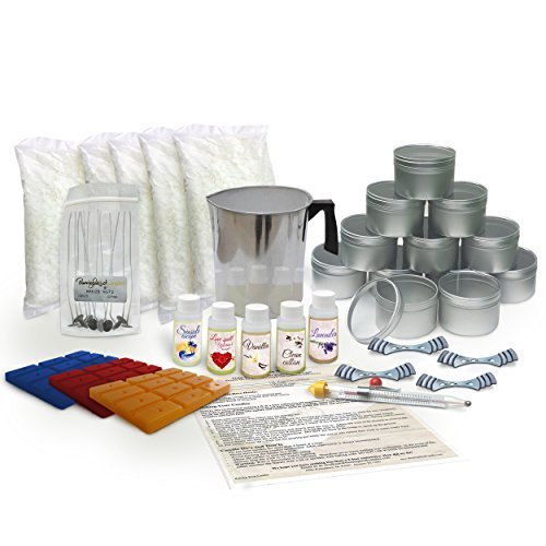 Candle Making Kit Large - with 5 lbs of Soy Wax Flakes, Scent, Pouring Pot, Wicks and Wax Dye