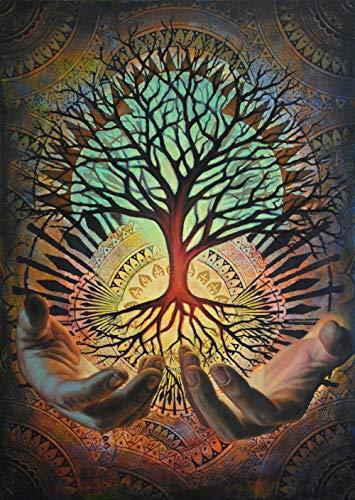Yggdrasil Canvas Irminsul The Tree of Life, The World Tree FRAMED CANVAS PRINT, Genuine Wood Internal Frame, Wall Art Decoration, High Quality Print, 3D Effect