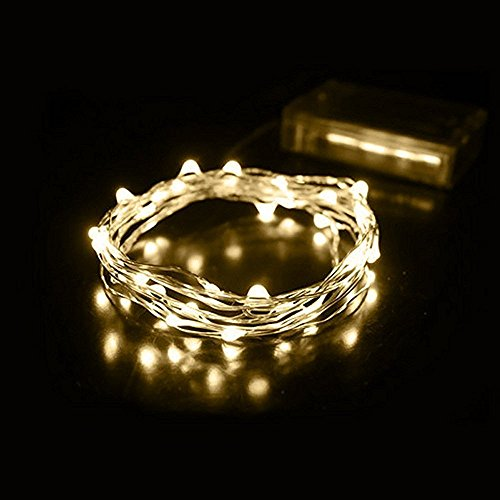 Fairy Lights, 2M 20 LEDs Battery Powered Silver Wire String Lights Waterproof Fairy Lights Indoor Outdoor Lighting Bedroom Garden Jars Camping Wedding Party Festival Tree decorations - Warm White