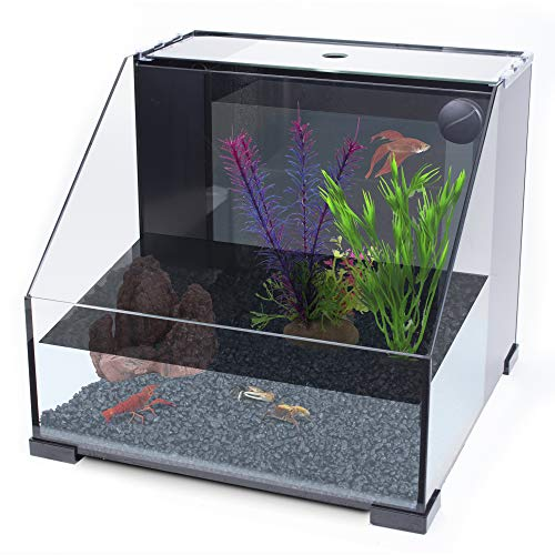 of penn plax aquariums dec 2021 theres one clear winner Penn-Plax AquaTerrium Fish Tank (REPTT1R) – 2 Chambers, 1 Biological Ecosystem – For Aquaponic, Refugium, and Freshwater Aquarium Setups – 8.4 Gallons, Glass