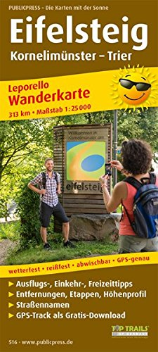Eifelsteig, Kornelimünster - Trier: Leporello Wanderkarte mit Ausflugszielen, Einkehr- & Freizeittipps, wetterfest, reissfest, abwischbar, GPS-genau. 1:25000 (Leporello Wanderkarte / LEP-WK)
