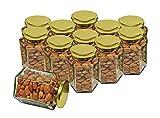 Hexagon Glass Jar with Air Tight Gold Metal Cap, 400 ml, Set of 12
