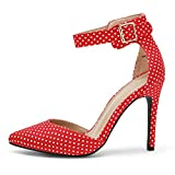 DREAM PAIRS Oppointed-Ankle Women's Pointed Toe Ankle Strap D'Orsay High Heel Stiletto Pumps Shoes Red Polka Dot -7.5M US
