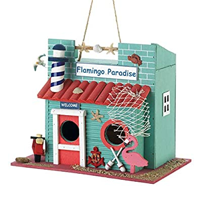 Songbird Valley 10018681 Flamingo Paradise Birdhouse, White