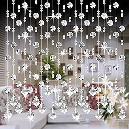 HY Crystal Glass Bead Curtain Luxury Living Room Bedroom Window Door Wedding Decor Colorful 3 (Color5)