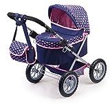 Bayer Design 13052AA, Cochecito, Carro muñecas Trendy, con Bolsa, Plegable, Ajustable, Azul, Rosa, Color, 68 x 67 x 41 cm
