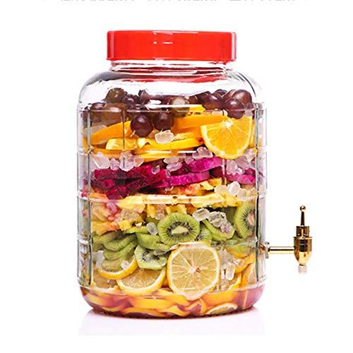 FMOGE Dispensador de Bebidas |Tarro de Cristal |Dispensador de Bebidas 5L ~ 25L |Espita de Metal sin Fugas |Transparente (Color: 8L, tamaño: espita de Acero Inoxidable),Armarios de Vino