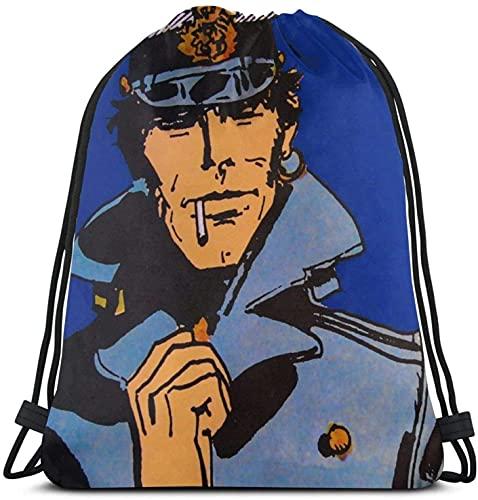 XCNGG Corto Maltese Cordon Sac À Dos Gym Sack Pack Solide Cinch Pack Sinch Sack Sport String Sac Avec Poche Sac De Plage Cadeau Pour Hommes Femmes