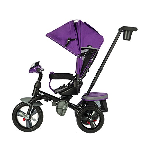 Evezo 302A 4-in-1 Parent Push Tricycle for Kids, Stroller Trike Convertible, Swivel Seat, Reclining Seat, 5-Point Safety Harness, Full Canopy, LED Headlight, Storage Bin (Purple Violet)
