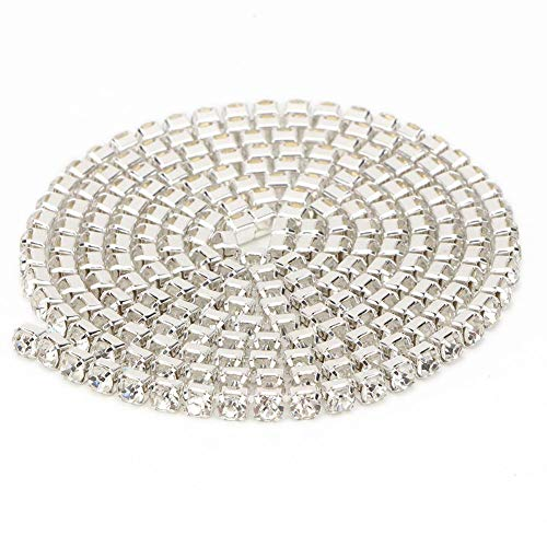 Cinta de diamantes de imitación de 10 yardas, rollo de adorno de cadena de diamantes de cristal de resina para manualidades DIY, decoración de costura para fiestas de boda(4.5mm-Plata)