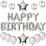 Kiwochy Cumpleaños Fiesta Decoración Plata Cumpleaños Fiesta Decoración Set Plata Cumpleaños Feliz Letras Guirnalda Globos Cumpleaños Fiesta Decoración Perfectos Accesorios para hombres mujeres