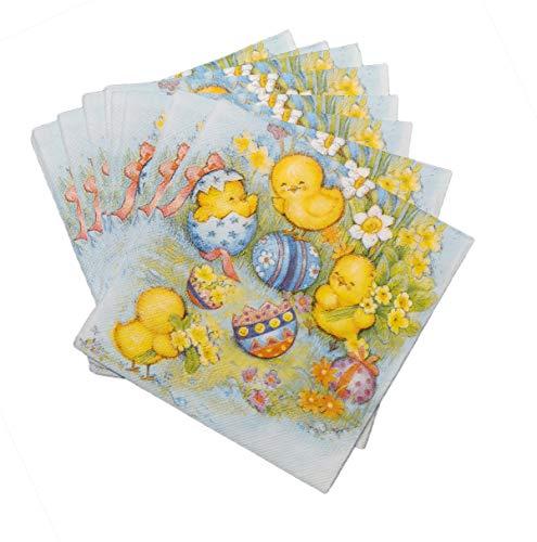 artwelten Papierservietten für Ostern 40 Stk – Oster Party Servietten aus Papier mit Küken - Oster Tischdeko – Serviettentechnik Ostermotiv