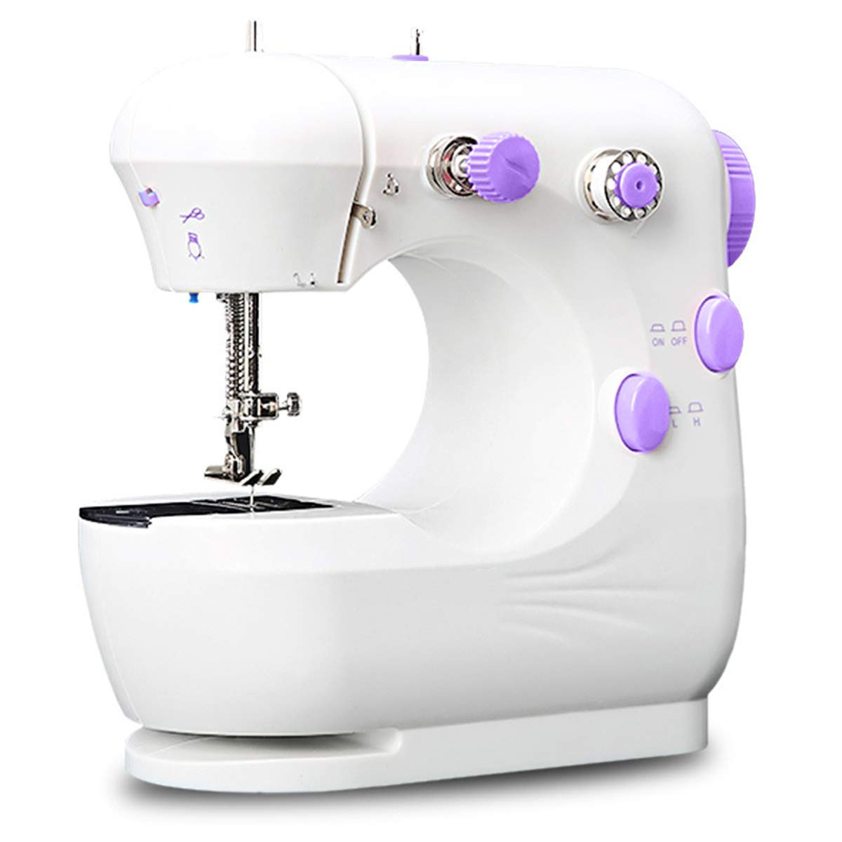 Electric Crafting Mending Machine with 25 PCS Bobbins Perfect for Beginners Mini Sewing Machine Adjustable 2-Speed with Foot Pedal Dual Power Options