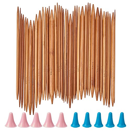 NBEADS Ferri da Maglia in bambù, 75 Pezzo di Aghi per Uncinetto A Doppia Punta con Cappucci da 2 mm A 10 mm per I Maghi Maglioni Che Lavorano A Maglia