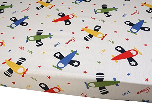 Premium Pack N Play Playard Sheet,100% ORGANIC Cotton, Fits Perfectly Any Standard Playard Mattress up to 3 Inch, Planes