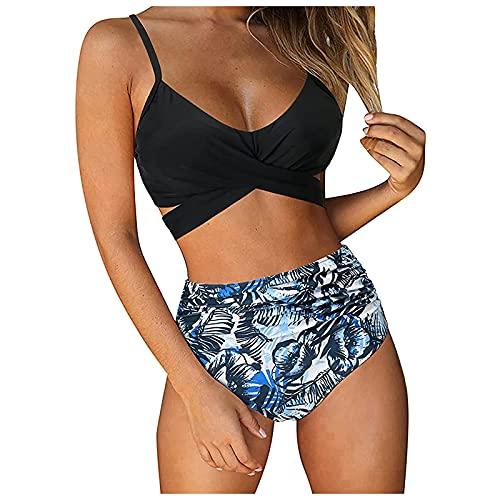 Zonary Damen Bikini Set Push Up Crossover Badeanzug Set Zweiteilige High Waist Strandbikini Slim Fit Bademode Push Up Verstellbar Bikini Oberteil,Bikini Set
