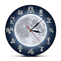 N /A Wall Clock 12 inch (30cm) Space Travel Moon Wall Art Modern Wall Clock Outer Space Astronaut Round Time Clock Wall Watch Science Surreal Galaxy Wall Decor