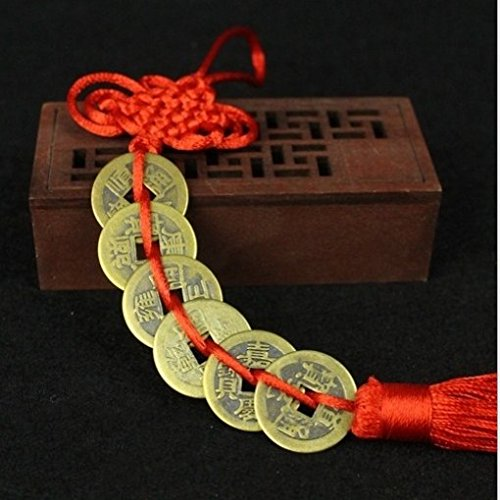 Moneda de la suerte Monedas chinas de cobre viejas Feng Shui Mascota Antiguas monedas no divisas para el hogar Moneda decorativa Percha de coche Fortuna Riqueza regalo de salud (color 6 monedas)