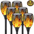 6-Pack Solar Lights Outdoor Decorative (Upgraded Vivid Flame), Super Bright Solar Torch Light with Flickering Flame, Waterproof Landscape Lighting for Patio Pathway Garden Pool