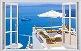 Griechenland Aussicht auf Meer Wandtattoo Wandsticker Wandaufkleber F0281 Größe 60 cm x 90 cm