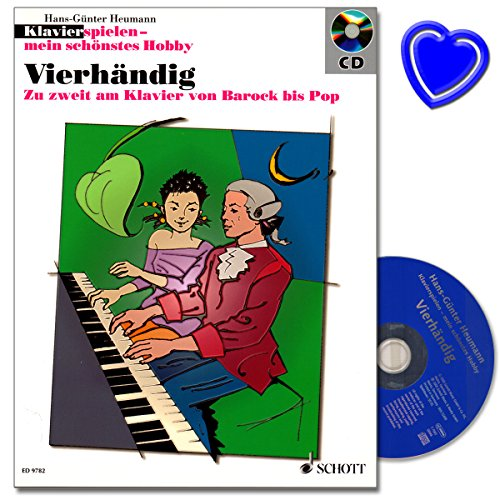Vierhändig - moderne Sammlung mit vierhändigen Klavierstücken von Diabelli bis Benny Goodman - Notenbuch von Hans-Günter Heumann mit CD und bunter herzförmiger Notenklammer