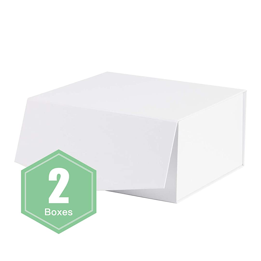 WRAPAHOLIC 2Pcs White Gift Box 8x8x4 Inches, Collapsible Gift Box with Magnetic Closure for Party, Wedding, Gift Wrap, Bridesmaid Proposal, Storage