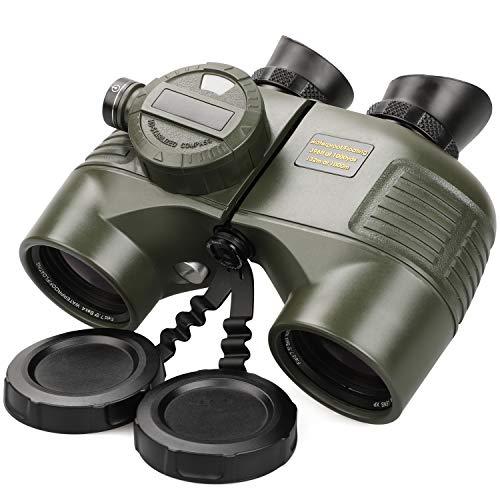 Binocolo Professionale Potente 10x50 Notturno Zoom IPX7 Impermeabile per Astronomico Marino Caccia Nautico Montagna con Telemetro Verde