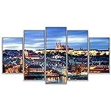 lcyab Impresiones sobre Lienzo Pinturas De Lienzo Modulares Decoración del Hogar Marco De Arte De La Pared 5 Piezas con Vistas Al Paisaje De Praga Sala De Estar Castillo Cartel