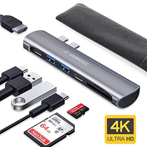 VANMASS USB C Hub, USB C Adapter für MacBook Pro 2019/2018/2017/2016 13