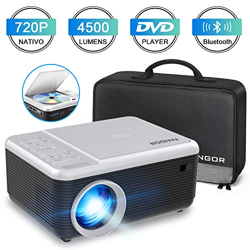 Mini Proyector, FANGOR Video Proyector portátil con Reproductor de DVD,4500Lux proyector de Cine en casa Bluetooth 720P Nativa,Compatible con HDMI/USB/Micro SD/VGA/Fire TV Stick/PS4/ Xbox