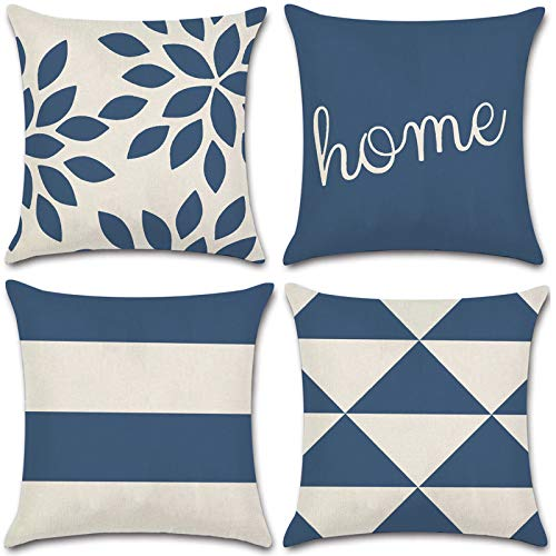 JOJUSIS Modern Geometric Throw Pillow Covers Cotton Linen Home Decor 16 x 16 inch Set of 4 Home Dark Blue