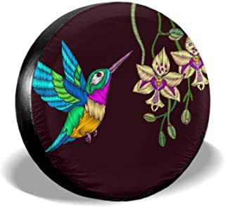 ENEVOTX Embroidery with Hummingbird and Orchid Flowers Vec Jeep Wheel Protector Car Tire Wheel Cover Tire Cover Waterproof Uv Sun 14 - 17 Fit for Jeep Trailer Rv SUV and Many Vehicle