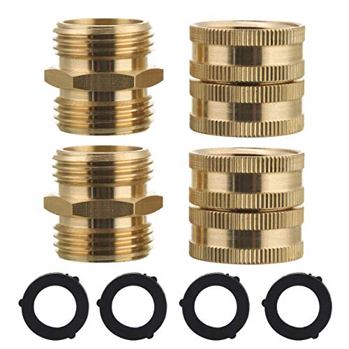 M MINGLE Garden Hose Adapter, Male to Male, Female to Female, 3/4 Inch Brass Connector, 4-Pack with Extra 4 Washers