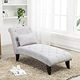 Modern Chaise Lounge Open Fold Spa Sofa Long Lounger for Bedroom, Office, Living Room with Storage (Gray 2)